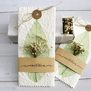 Picky Bride 25Pcs Handmade Real Dry Flower Vintage Wedding Invitations with Real Leaf Vein, Unique Wedding Gifts Rustic Invite Cards for Your Stylish Wedding Theme 10 x 20cm