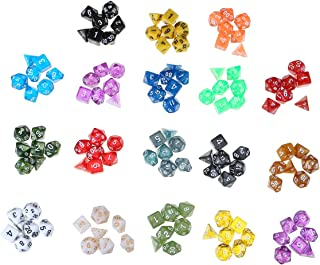 GENERIC 126PCS Polyhedral Dices Set compatible for Dungeons & Dragons Dice Desktop RPG Game Dices