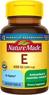 Nature Made Vitamin E 180 mg (400 IU) dl-Alpha, Dietary Supplement for Antioxidant Support, 100 Softgels, 100 Day Supply