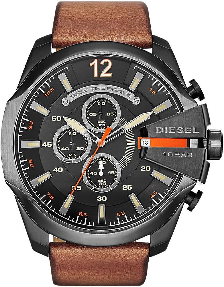 Diesel time frames orologio cronografo da uomo cassa in acciaio inossidabile e cinturino in vera pelle DZ4343