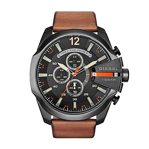 Diesel Mens Mega Chief Quartz Stainless Steel and Leather Chronograph Watch, Color: Black,