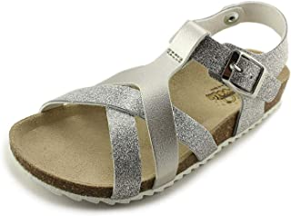 Garvalin Girls Open Toe Leather Sandals 182652 Plata Silver (Little Kid/Big Kid)