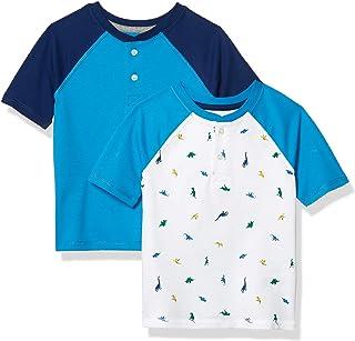 Amazon Essentials 2-Pack Boys Short-Sleeve Henley Shirt Fashion-t-Shirts, Paquete de 2 Dinosaurios Blancos, EU 104-110 CM
