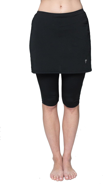 HydroChic Chlorine Proof Women's Skirted Swim Capri Pants, Modest Swimsuit Capri Skirt