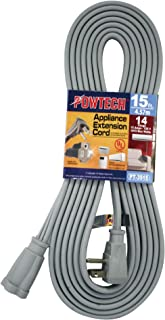 POWTECH Heavy duty 15 FT Air Conditioner and Major Appliance Extension Cord UL Listed 14 Gauge, 125V, 15 Amps, 1875 Watts ...