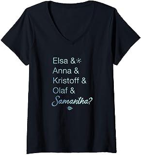 Mujer Disney Frozen 2 Character Name Stack & Samantha Camiseta Cuello V