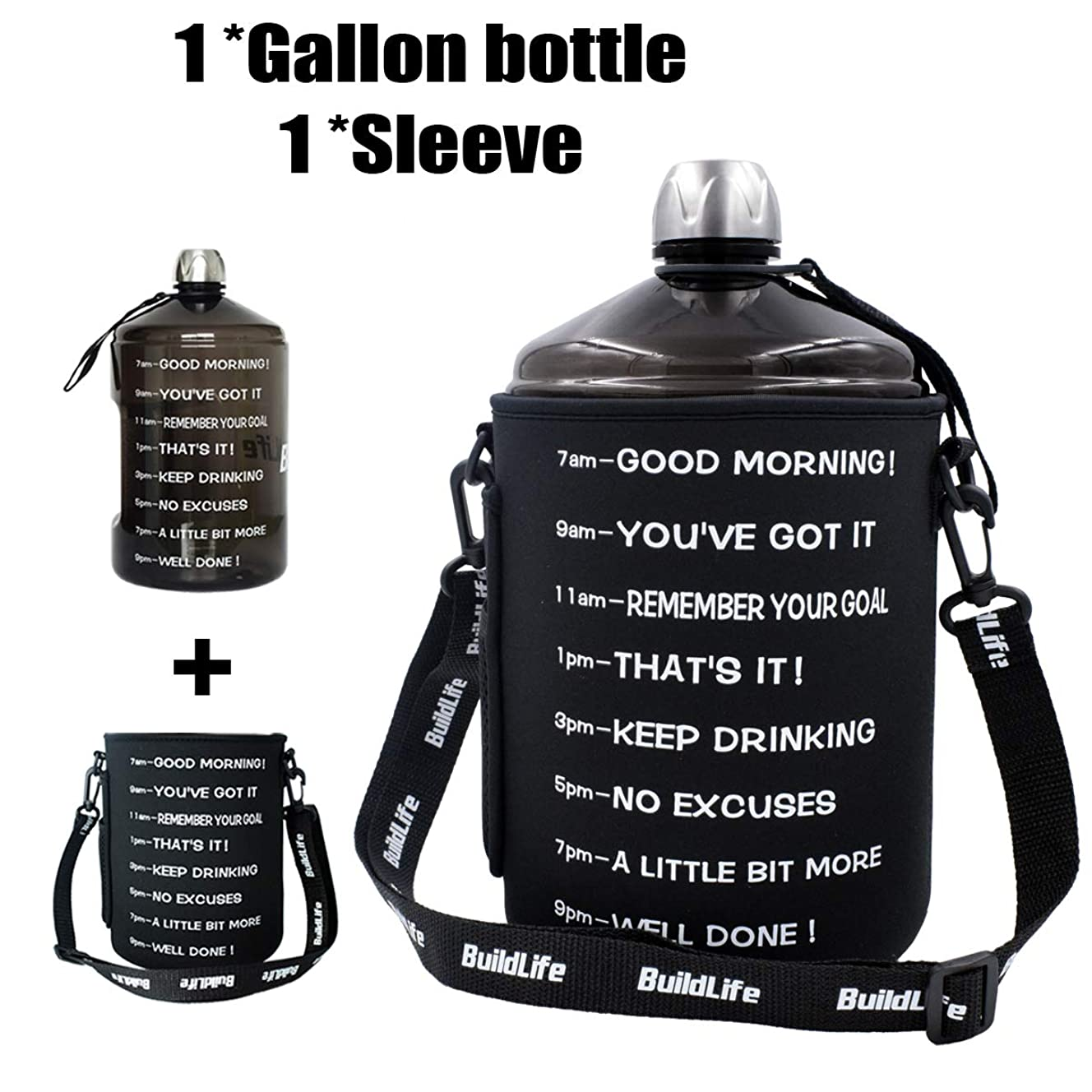 QuiFit 1 Gallon Water Bottle Reusable Leak-Proof Drinking Water Jug for Outdoor Camping BPA Free Plastic Sports Water Bottle with Daily Time Marked