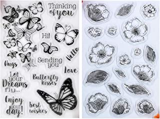 Kwan Crafts 2 Sheets Different Style Flowers Leaves Butterfly Thinking of you Love Best Wishes Clear Stamps for Card Makin...