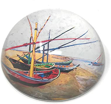 Value Arts Vincent Van Gogh Fishing Boats on the Beach Glass Dome Paperweight, 3 Inch Diameter