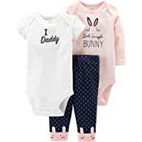 3-Piece Carter's Baby Girls Cotton Bunny Bodysuits & Pants Set (Pink)