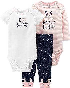 3-Piece Carter's Baby Girls Cotton Bunny Bodysuits & Pants Set