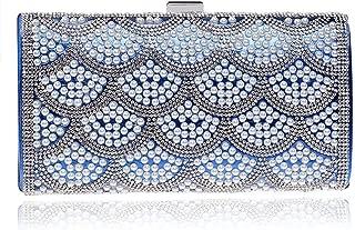 Pearl Fashion Girls Diagonal Bag, European and American Banquet Festival Clutch, Simple Fashion Party Clutch, Buckle Safety Ladies Clutch (22 * 5 * 11.5),Blue