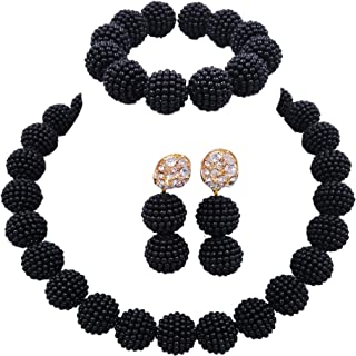 laanc Fashion Women 1 Rows Multicolor Plastic Imitation Pearl Nigerian Wedding Beads African Jewelry Sets