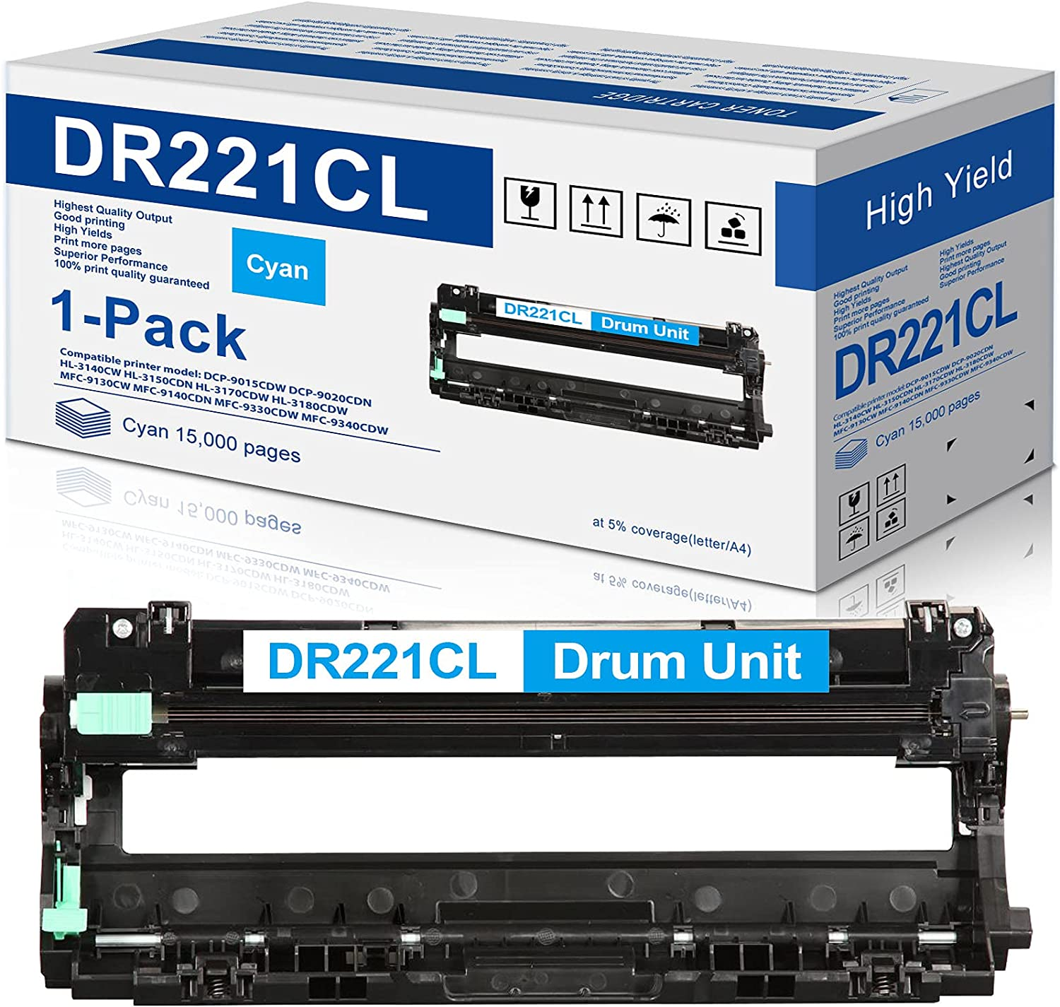 Compatible 1-Cyan DR221CL DR 221CL Drum Unit Replacement for Brother DR-221CL DR221 HL-3140CW HL-3170CDW HL-3180CDW MFC-9130CW MFC-9330CDW MFC-9340CDW Printer