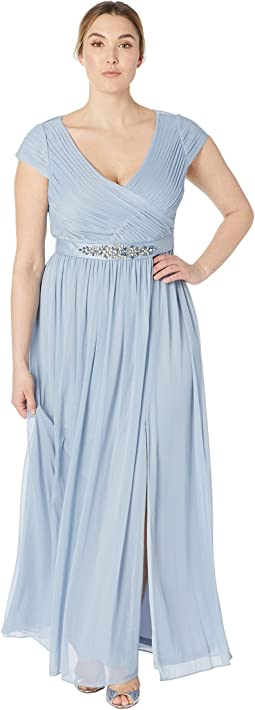 Cap Sleeve V-Neck Gown with Shirred Bodice