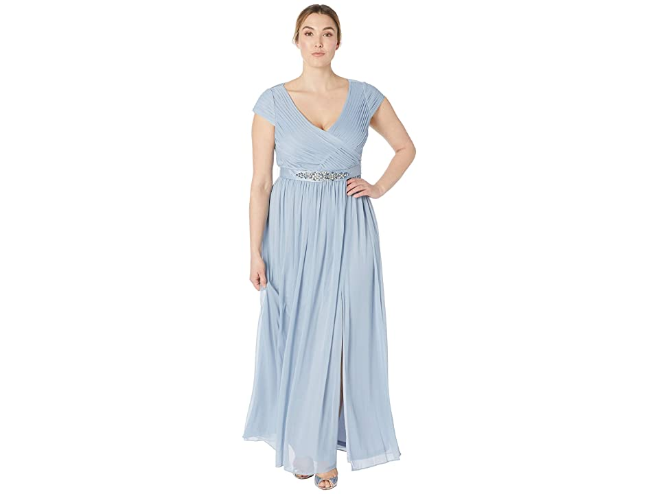 Adrianna Papell Cap Sleeve V-Neck Gown with Shirred Bodice (Dusty Periwinkle) Women