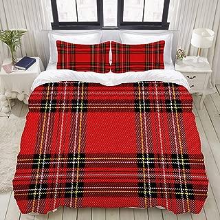 DAOPUDA Queen Size Duvet Cover,Christmas New Year Tartan Plaid Scottish,Decorative 3 Piece Bedding Set with 2 Pillow Shams,Zipper Closure,Ultra Soft 90