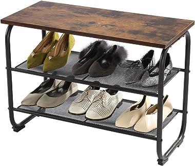 GOOD & GRACIOUS Entryway Shoe Rack Bench, 2-Tier Small Shoe Storage Bench, Metal & Wood Shoe Organizer for Door, Garage & Small Space, Rustic Brown