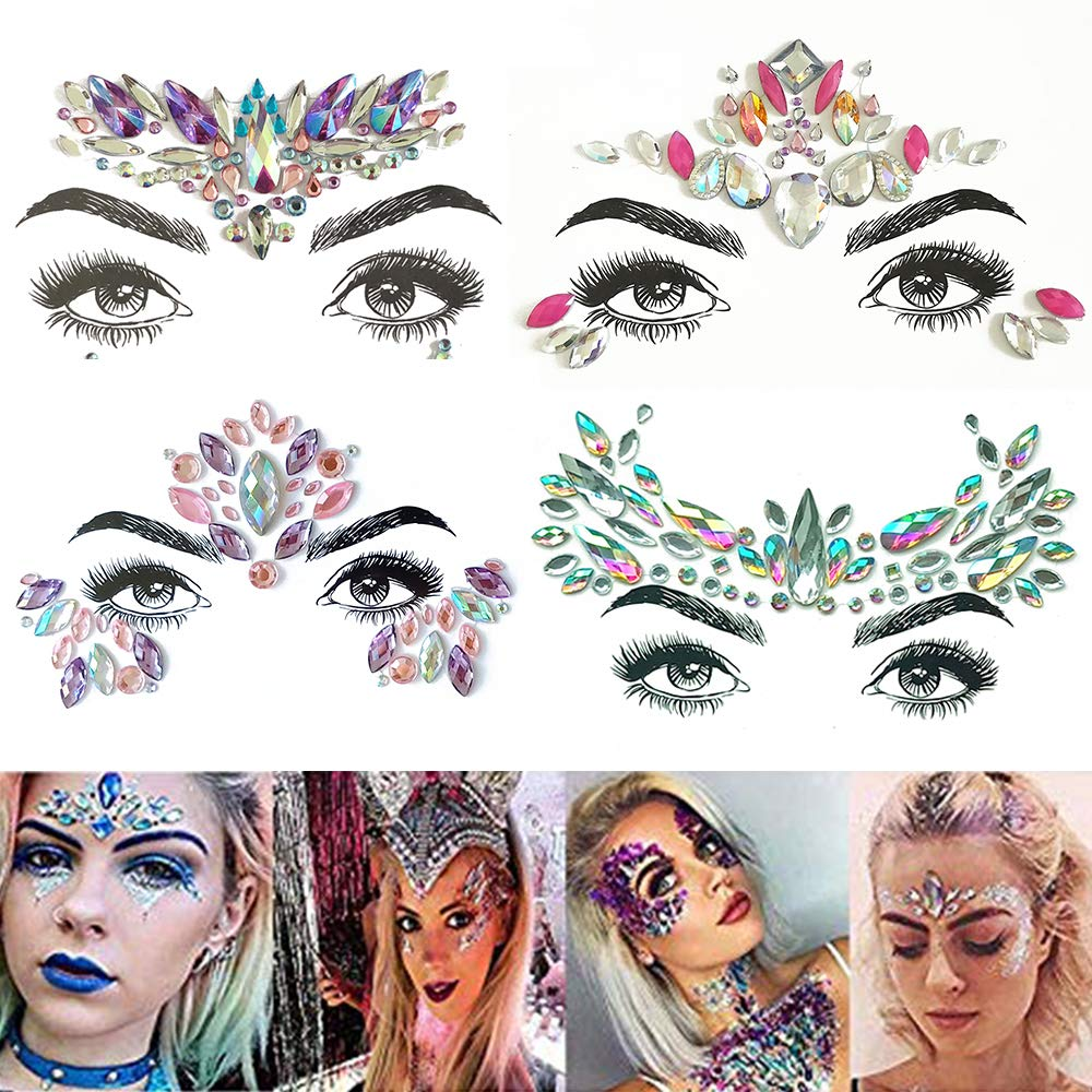 TEAMWIN Face Gems 4 Mail Popularity order Sets Mak Eyes Self-adhesive Jewel