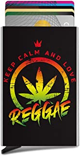 Keep Calm and Love Reggae. Business Card Case Automatic Pop Up Card Holder Slim Metal Credit Card Wallet Minimalist Card Protector Professional Thumb Drive Name Card Carrier