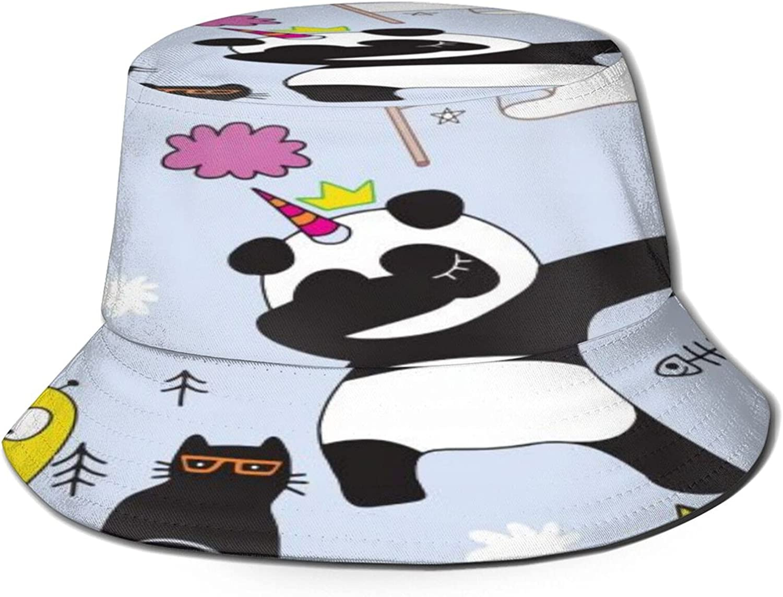 Panda Cat Bucket Hat Unisex Packable New Max 47% OFF sales Sun Fisherman Summer Ha