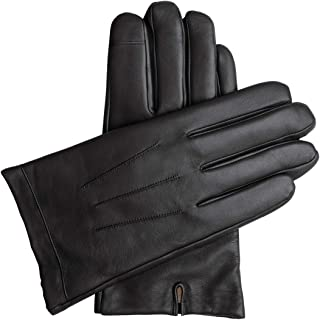 Downholme Touchscreen Leather Cashmere Lined Gloves for Men (Black, M)