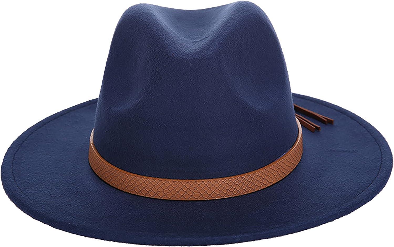 Womens Wide Brim Fedora Panama Hat Classic Felt Hat with Belt Buckle
