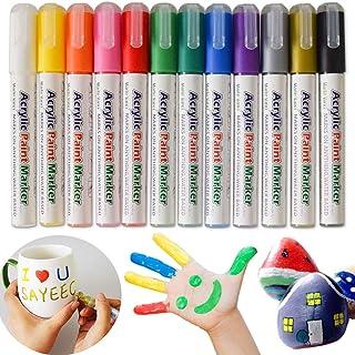 SAYEEC Acrylic Paint Marker Pens Set of 12 Reversible Tip Colored Artist Gold Marker Coloring Pen for Rock Painting Mug De...