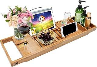 Rubik Bath Tray, Bamboo Bathtub Tray Caddy with Extending Sides, Mug Wineglass Smartphone Holder, Metal Frame Book Pad Tab...