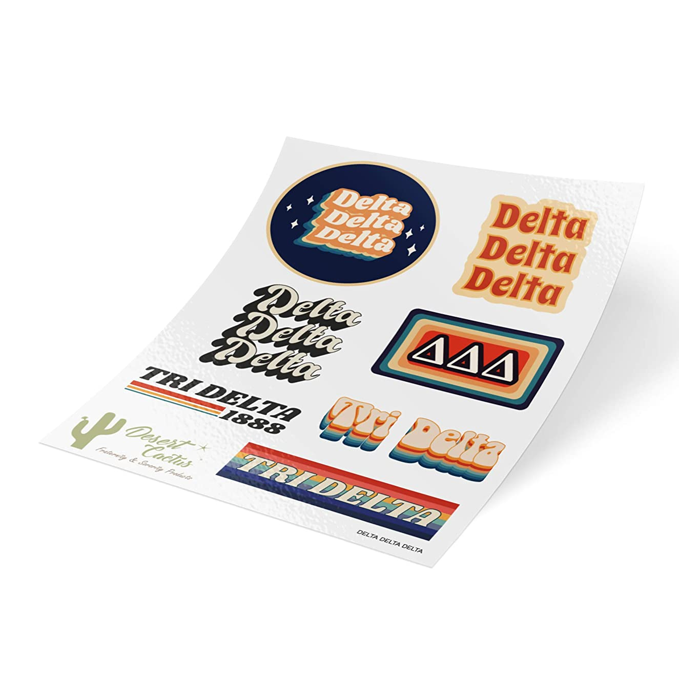 Delta Delta Delta 70's Themed Sticker Sheet Decal Laptop Water Bottle Car tri Delta (Full Sheet - 70's)