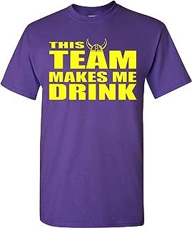This Team Makes Me Drink Minnesota Adult T-Shirt Tee (Small, Purple w/Yellow)