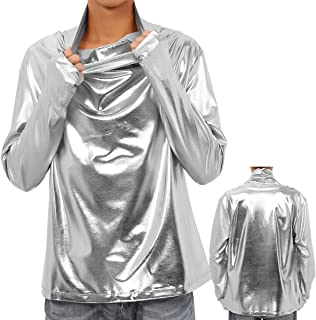 Interesting Mens Fashion Shiny Metallic Faux Leather T Shirts Long Sleeve Heap Collar Leather Hipster Hip Hop Street Style Tees for Male (Color : Silver, Size : XXL)