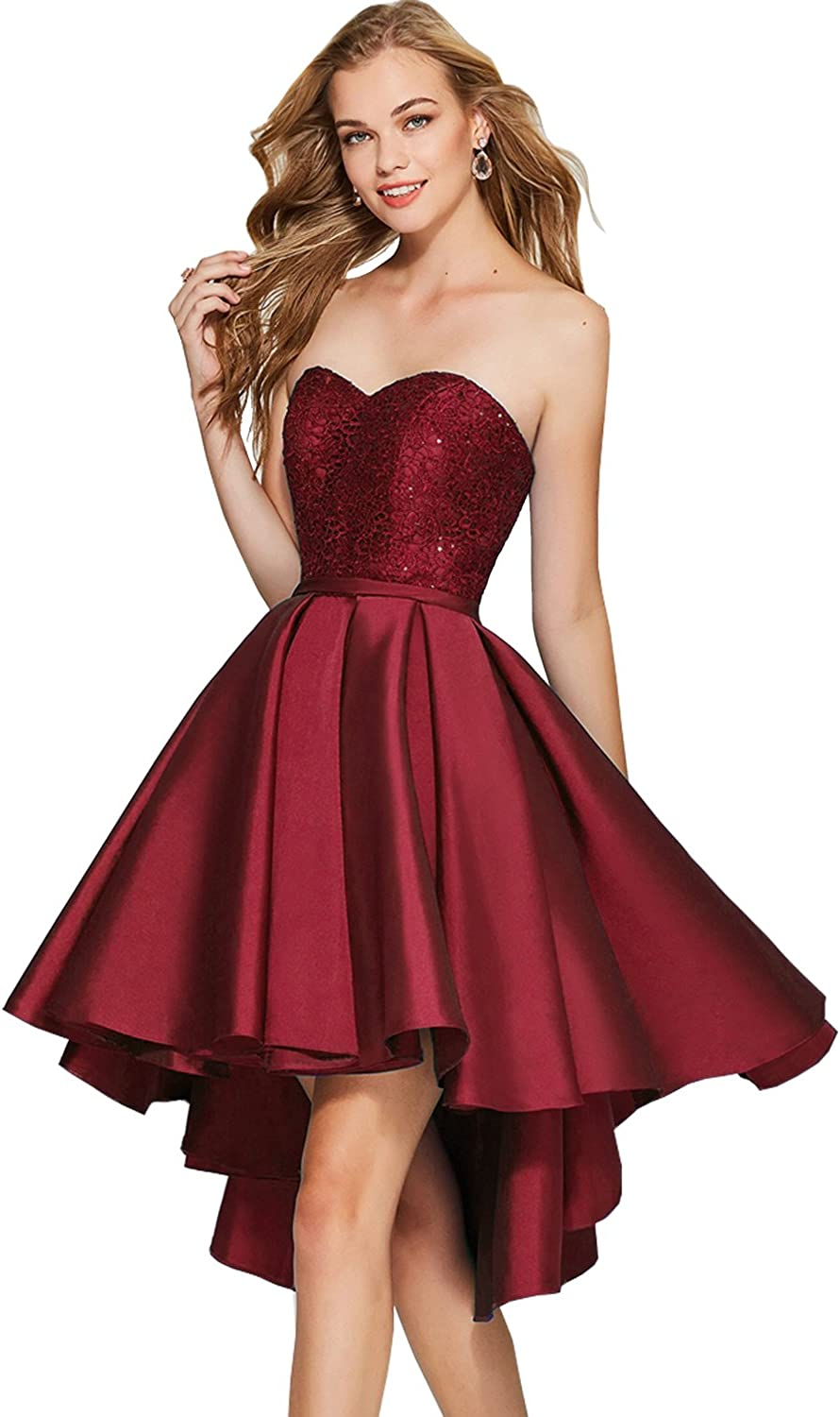 Women's A Line Sweetheart Satin High Low Homecoming Dress Short Prom Evening Gown with Lace Bodice