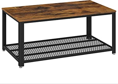 VASAGLE Table Basse au Design Industriel avec Grand Plateau, Pieds réglables, Protection du Sol, Armature en métal - Stable -