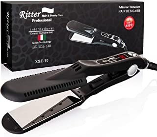 RITTER H&B.C Professional Hair Straightener Flat Iron, Titanium 1.75 inch Wide Plates, Up to 450F Degrees in 30 Seconds (MCH), Digital Display, Ideal for Hairdressers, Long Thick and Curly Hair