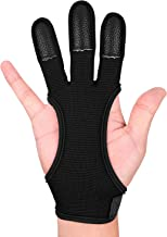 FitsT4 Archery Gloves Leather Bow Protective Shooting Gloves Three Finger Recurve Bow Archery Glove for Youth Adult