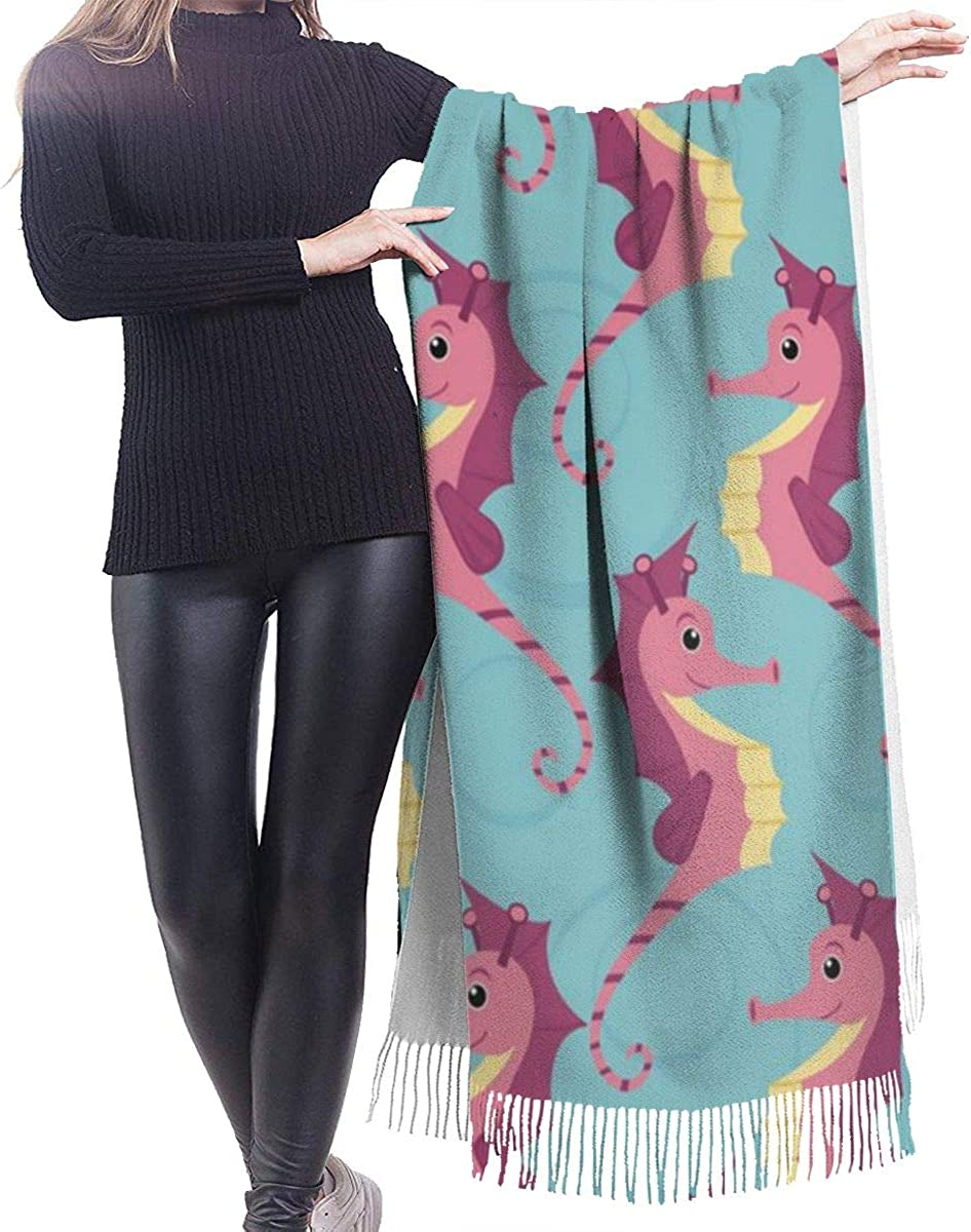 Seahorses Cashmere Shawl Wrap Scarf Large Warm Scarf For Women