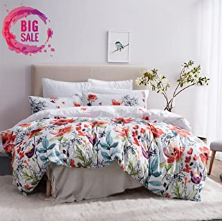 Leadtimes Duvet Cover King Floral White Boho Hotel Bedding Sets with Soft Lightweight Microfiber 1 Duvet Cover and 2 Pillow Shams (King, Style2)