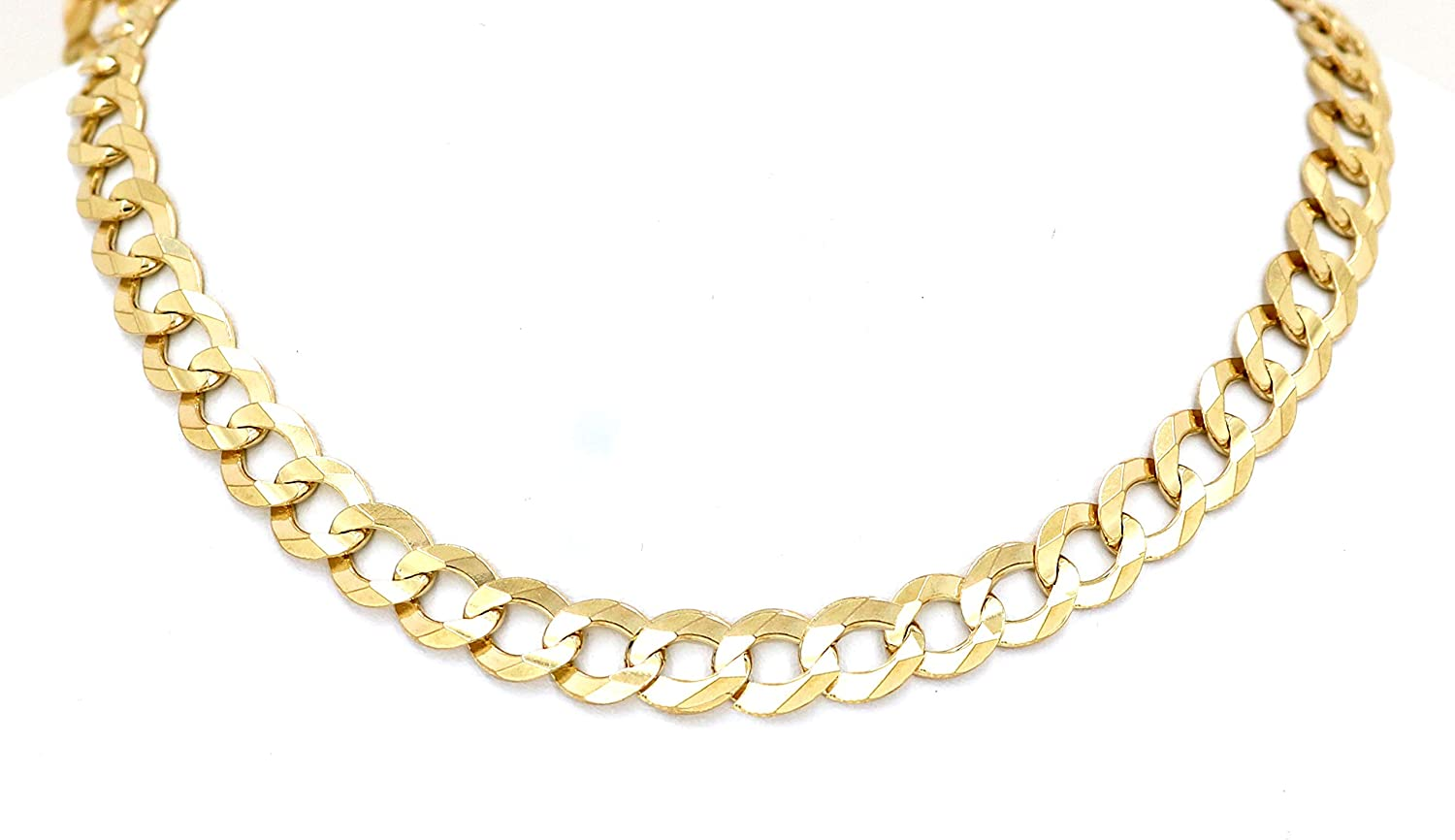 Real 10K Yellow Gold Hollow C-Link Chain/Necklace 3.5mm, 16