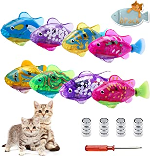 WiXiBin Swimming Robot Fish Toys for Cat/Dog/Baby(8 Pcs), with LED Light, Activated in Water Magical Electric,nteractive Pet Toy to Stimulate Your Pet's Hunter Instincts