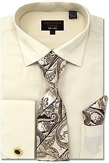 Christopher Tanner Men's Regular Fit Dress Shirts with Tie & Handkerchief Cufflinks Combo Solid Micro Pattern
