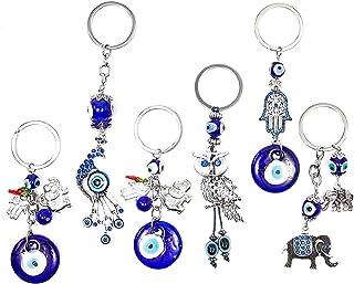 Juvale Hamsa Evil Eye Amulet Keychains for Good Luck, 6 Pack, Dark Blue