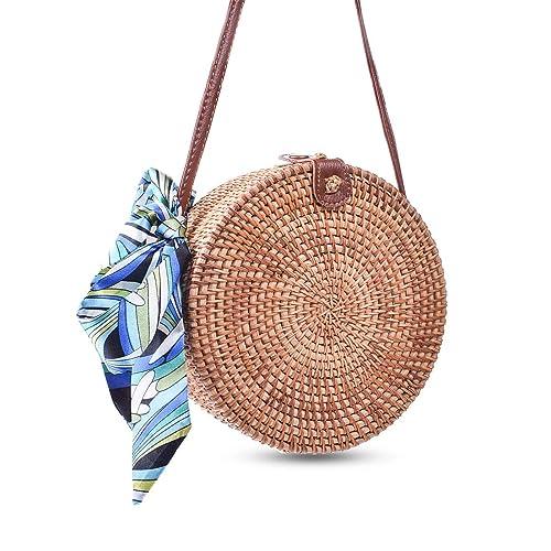 Round Rattan Bags, Heegay Handmade Bali Ata Straw Woven Circle Crossbody Handag for Women with