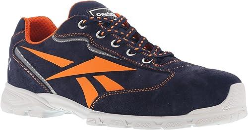 Reebok Work ib1012S1P 41audaz Athletic zapatos de seguridad, aluminio Toe, hebilla superior de nailon y ante, Talla 41, Color azul marino naranja
