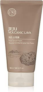 The Faceshop Jeju Volcanic Lava Scrub Foam Gentle Exfoliator for Tan Removal, Whiteheads and Blackheads |for Normal to Oily Skin,150ml
