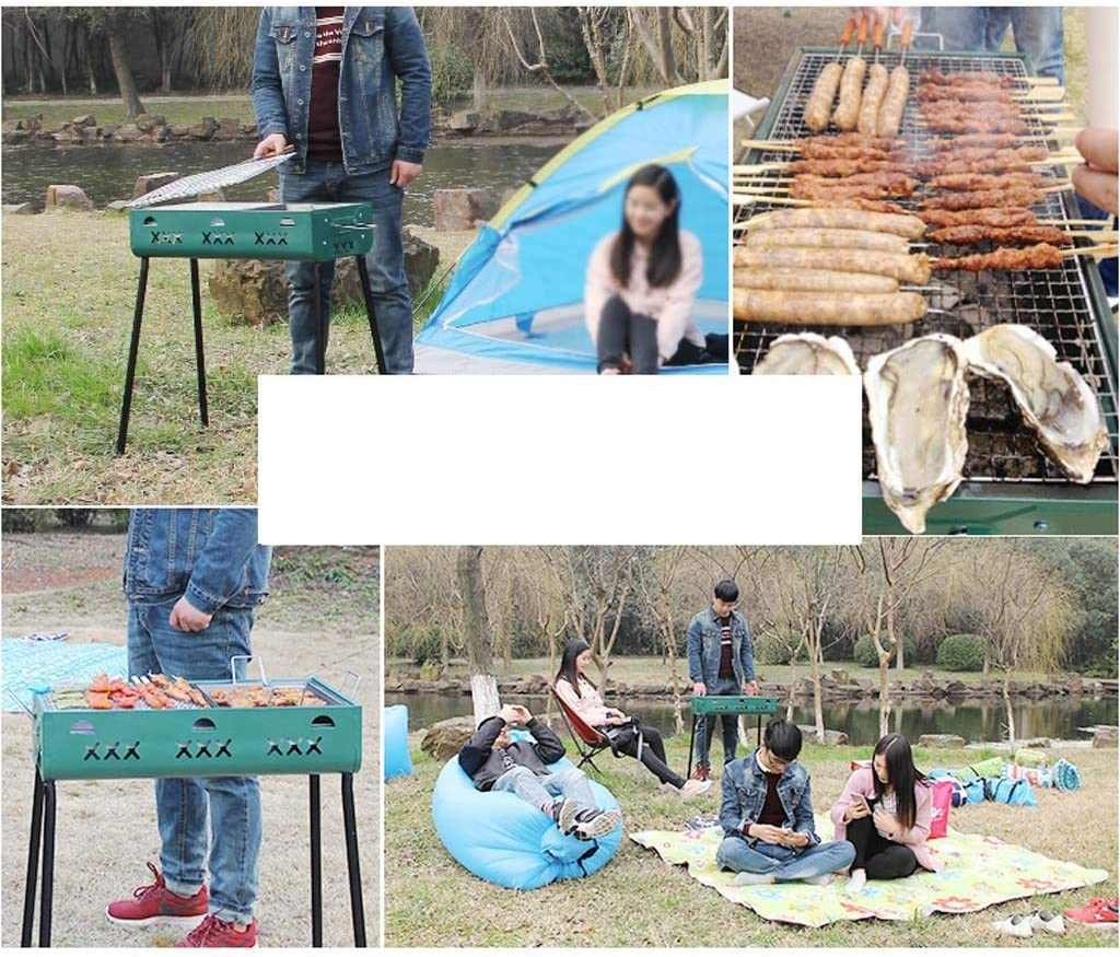 Barbecue Grill Barbecue Grill,Réchaud de Barbecue Pliant Portable extérieur,Barbecue au Charbon de Bois pour Barbecue (pour 5 Personnes ou Plus) @ (Couleur: Vert) Green