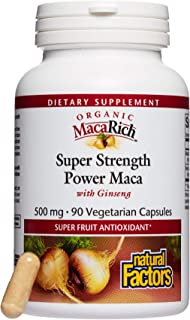 MacaRich by Natural Factors, Super Strength Power Maca, Superfruit Antioxidant Supplement with Ginseng, 90 capsules (90 se...