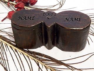 Personalizada con Texto, Caja de Anillo Nombres Pareja, Personalizada Caja Anillo Vintage, Caja Dos Anillos, Nombres Graba...