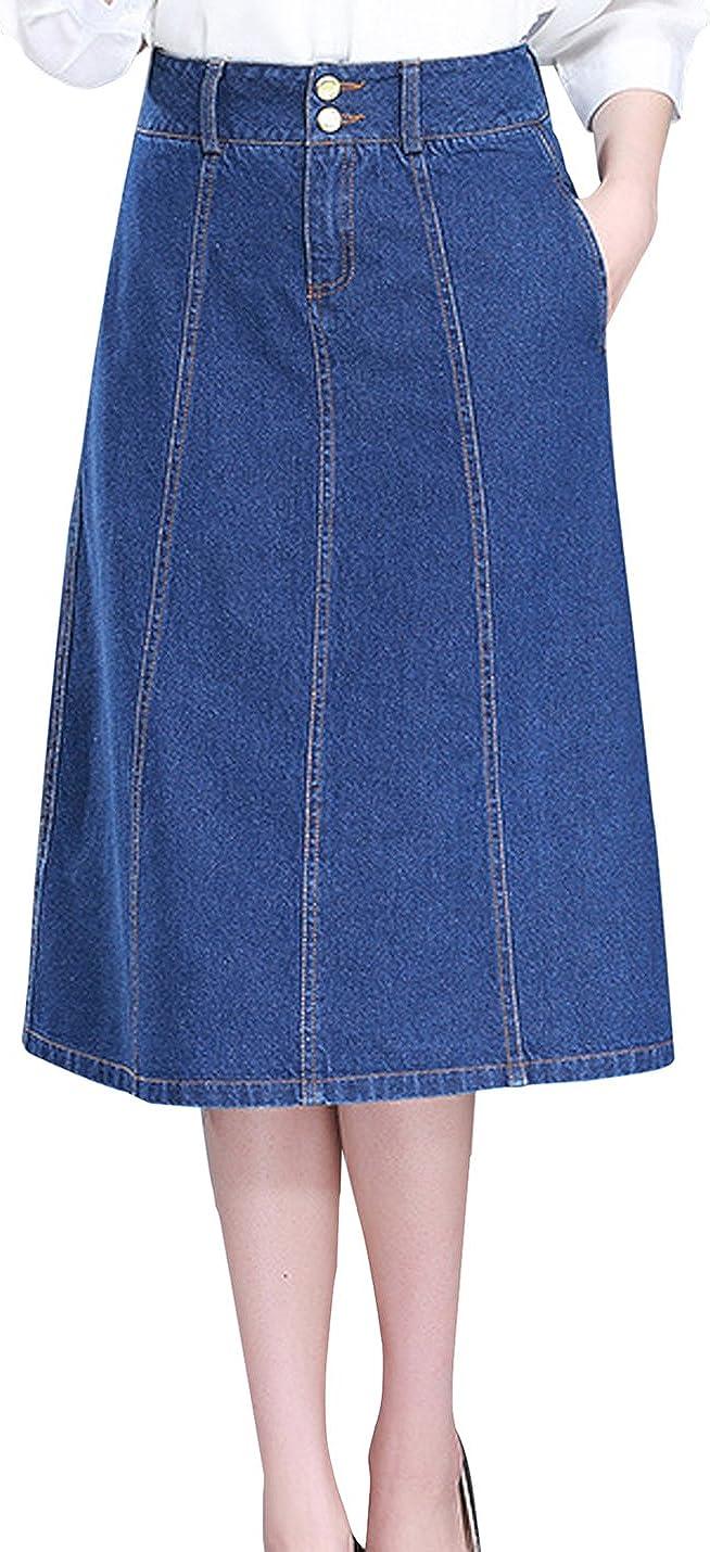Uaneo Women's Casual High Waist A Line Button Below Knee Denim Midi Skirts (Blue, X-Small)