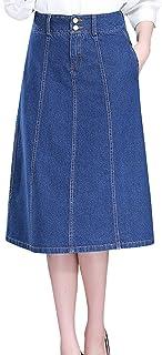 Tanming Women's High Waist Button Long Midi Denim Jean Skirt